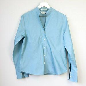 Orvis Blue Wrinkle Free Cotton Button Down Blouse